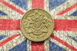 british pound on union jack background