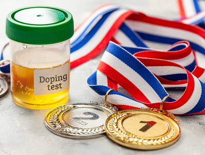 doping urine test with medals