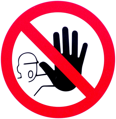 stop sign with man putting a hand out