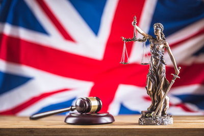 uk flag lady justice gavel