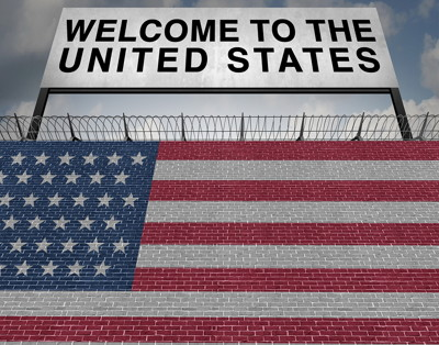 united states flag and welcome sign
