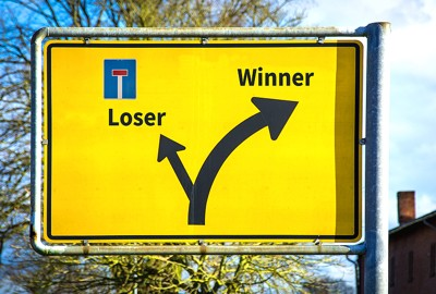 winner loser street sign