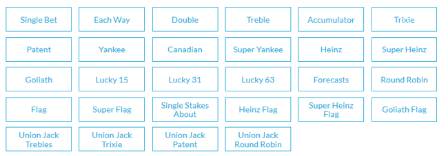 BetVictor Bet Calculator Bet Types Available