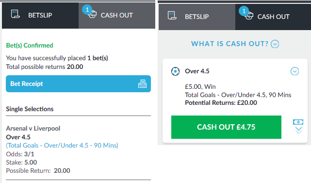 cash out example betvictor