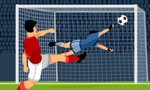 football image kicking into the top corner of a goal