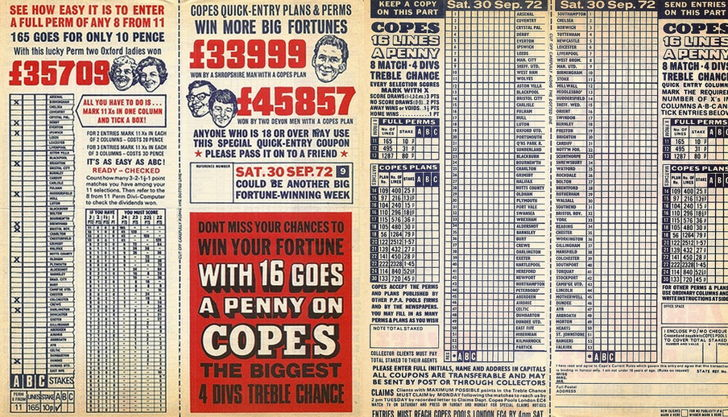 old football pools coupon