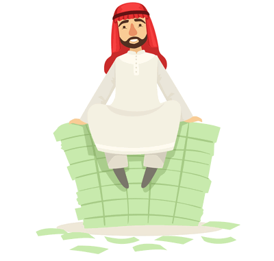 sheikh sitting on money pile