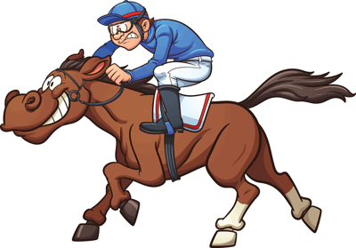 cartoon of a jockey on a horse