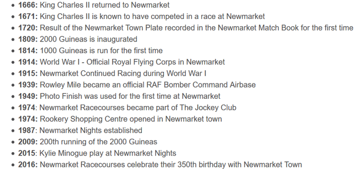 newmarket raccecourse history