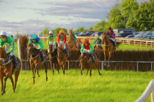 painting of horses jumping over a fence at a racecourse