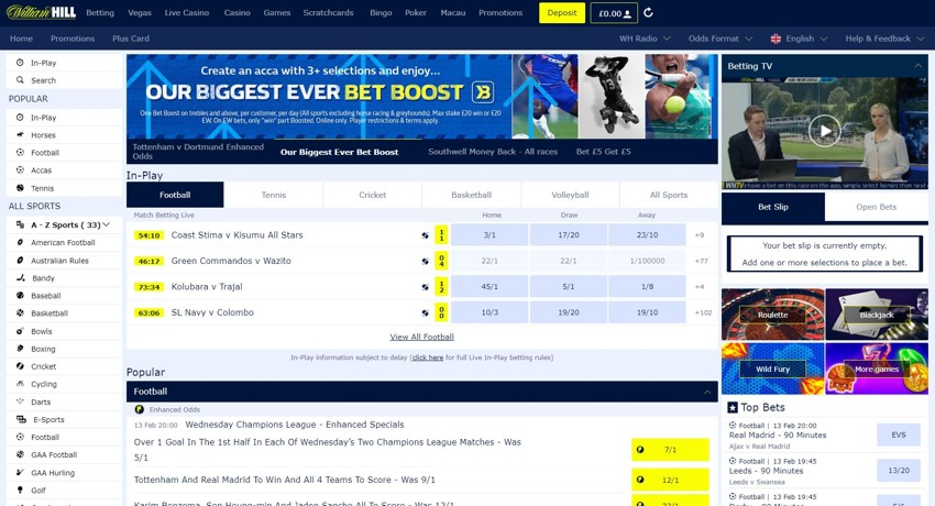 William hill website problems