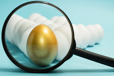golden egg under magnifying glass