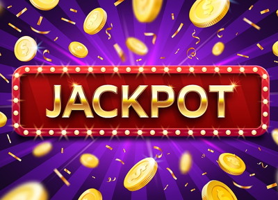 jackpot sign and money