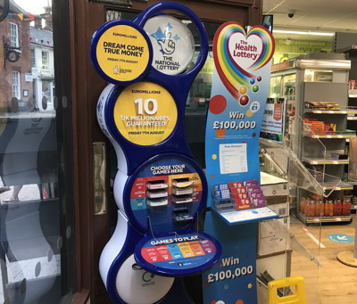 national lottery station in a shop