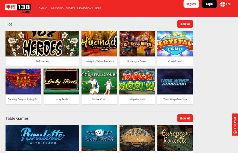 138 casino home page