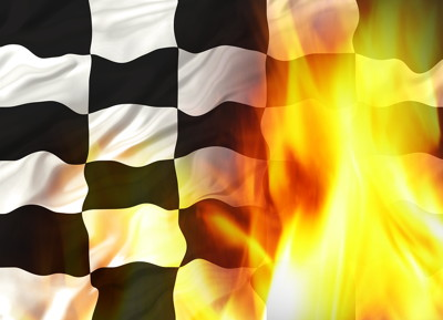 f1 chequered flag with flames