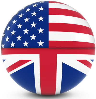 golf ball with uk and usa flag half and half to symbolise ryder cup