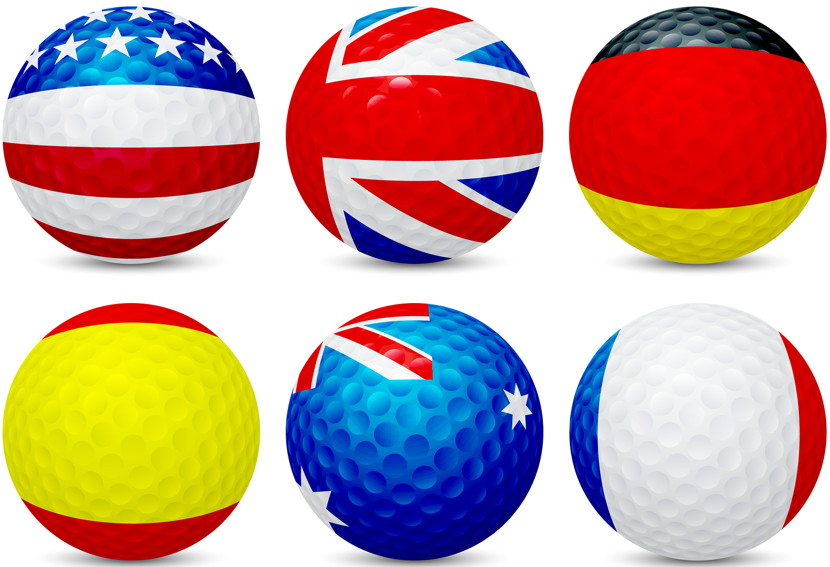 golf balls with various country flags