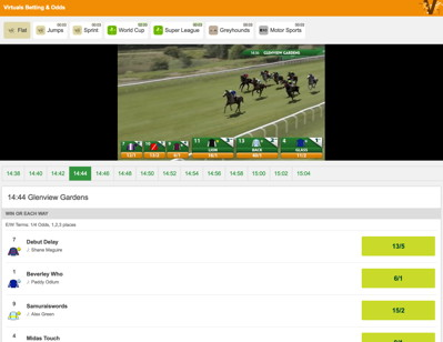 virtual horse race and betting console