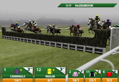 virtual racing horse jumping a fence