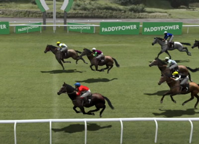 virtual racing horses crossing the line